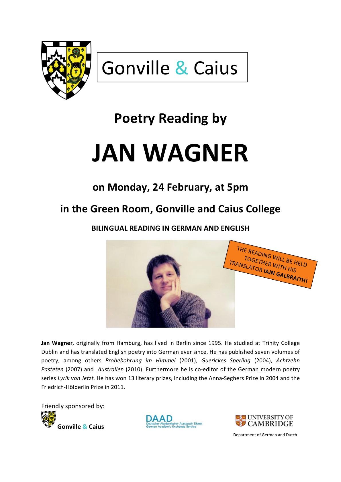 Jan Wagner Poetry Reading