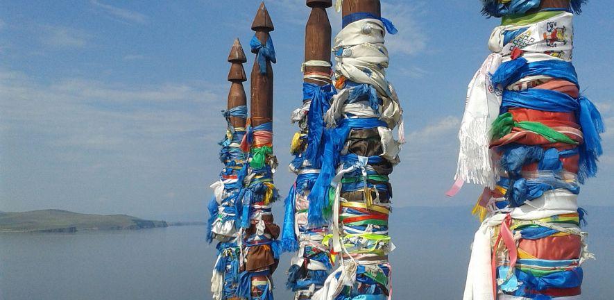 (c) Sophie Rust - Shaman totem poles on Olkhon Island, Eastern Siberia