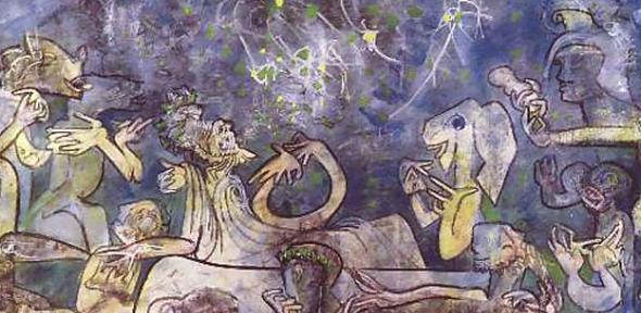 Painting by Roberto Matta, A Cena da Agatone (1985)