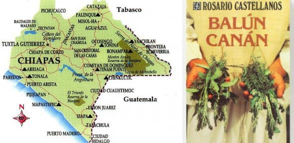 Map of Chiapas and front cover of Balún Canán