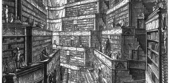 "High Circular Gallery, an illustration by Erik Desmazières for ""The Library of Babel,"" by Jorge Luis Borges, 2000 (Creative Commons, Penn State University)"